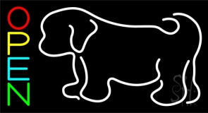 Puppies With Logo 2 Neon Sign