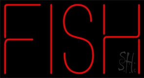 Red Fish Block Neon Sign