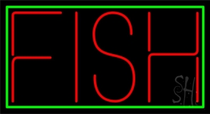 Red Fish Block 1 Neon Sign
