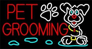 Red Pet Grooming Neon Sign