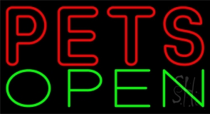 Red Pets Green Open Neon Sign