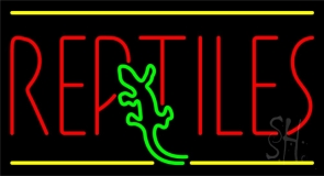 Red Reptiles Block Neon Sign