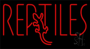 Red Reptiles Block 2 LED Neon Sign