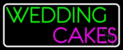 White Border Wedding Cakes Neon Sign