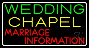 White Border Wedding Chapel Marriage Information LED Neon Sign