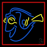 Yellow Blue Fish Neon Sign