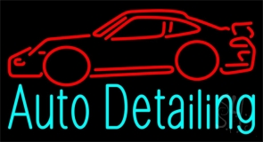 Auto Detailing With Car Logo 1 Neon Sign