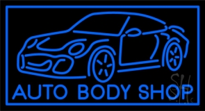 Blue Auto Body Shop Neon Sign