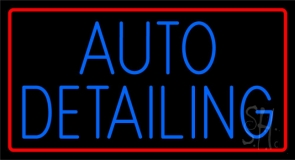 Auto  Detailing With Red Border Neon Sign