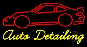 Cursive Auto Detailing With Car Logo 1 Neon Sign