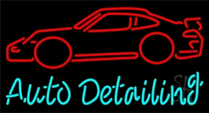 Auto Detailing Neon Signs Every Thing Neon #1: n105 5645 cursive auto detailing with car logo neon sign