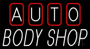 Double Stroke Auto Body Shop Neon Sign