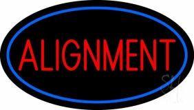 Red Alignment Blue Oval Neon Sign