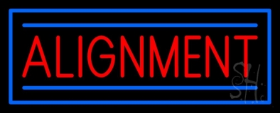 Red Alignment Blue Rectangle Neon Sign