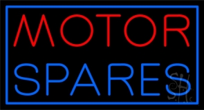 Red Motor Blue Spares Neon Sign