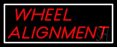 Red Wheel Alignment Neon Sign
