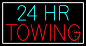 24 Hour Red Towing Neon Sign