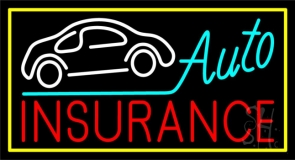 Auto Insurance White Car Logo Neon Sign