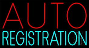 Auto Registration Block Neon Sign