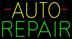 Yellow Auto Green Repair Block Neon Sign