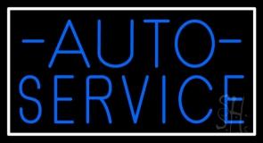Auto Service Block White Border Neon Sign