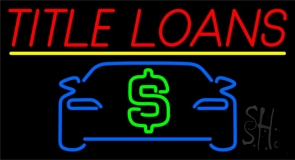 Auto Title Loans Yellow Line Neon Sign