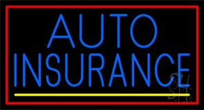 Blue Auto Insurance Yellow Line Red Border Neon Sign