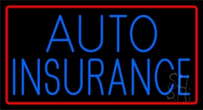 Blue Auto Insurance Red Border Neon Sign