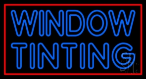 Double Stroke Window Tinting Red Border Neon Sign