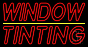 Double Stroke Window Tinting Yellow Line Neon Sign