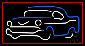 Car Logo Red Border Neon Sign