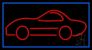 Car Logo With Blue Border Neon Sign