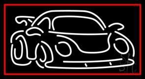 White Car Logo Red Border Neon Sign