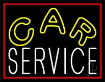 Car Service Red Border Neon Sign