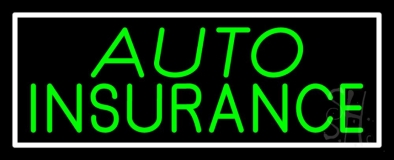 Green Auto Insurance White Border Neon Sign