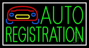 Green Auto Registration With Car Logo Neon Sign