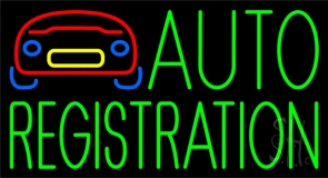 Green Auto Registration With Logo Neon Sign