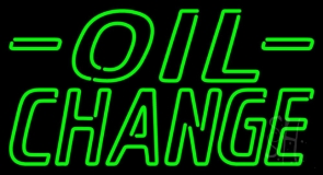 Green Oil Change Neon Sign