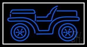 Blue Car Logo White Border Neon Sign