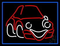 Mini Car Logo Blue Border Neon Sign