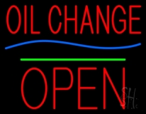 Oil Change Open Block Green Line Neon Sign