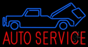 Red Auto Service Blue Car Logo Neon Sign