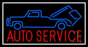 Red Auto Service Blue Car Logo With White Border Neon Sign