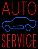 Red Auto Service Car Logo Neon Sign