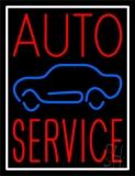 Red Auto Service Car Logo White Border Neon Sign