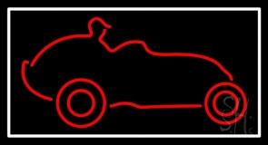 Red Car Logo White Border Neon Sign