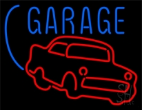 Red Car Logo White Garage Neon Sign