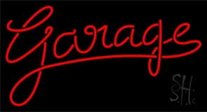 Red Cursive Garage Neon Sign