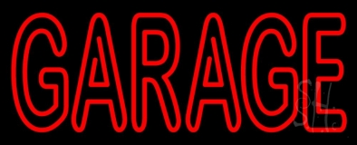 Red Double Stroke Garage Neon Sign