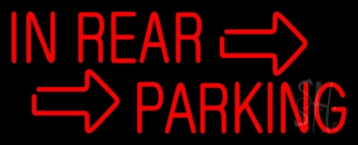 Red In Rear Parking Neon Sign